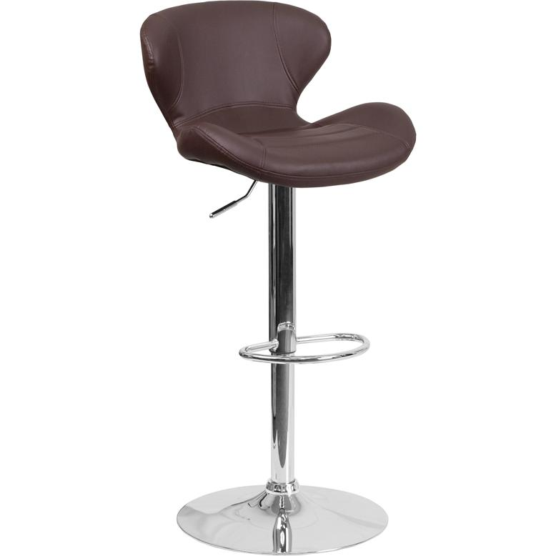 Contemporary Brown Vinyl Adjustable Height Barstool with Curved Back and Chrome Base. Picture 1