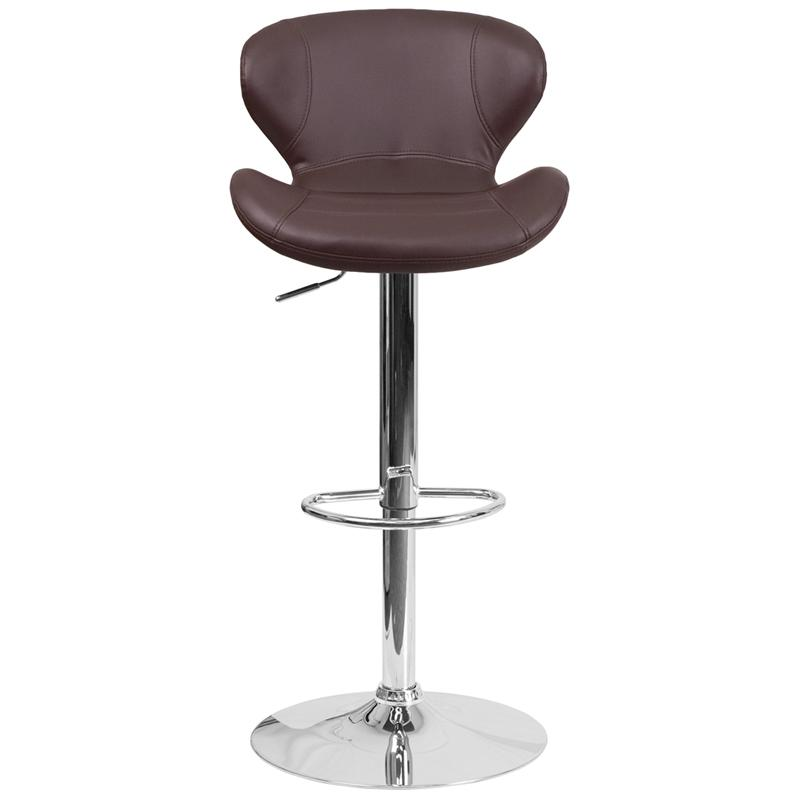Contemporary Brown Vinyl Adjustable Height Barstool with Curved Back and Chrome Base. Picture 4