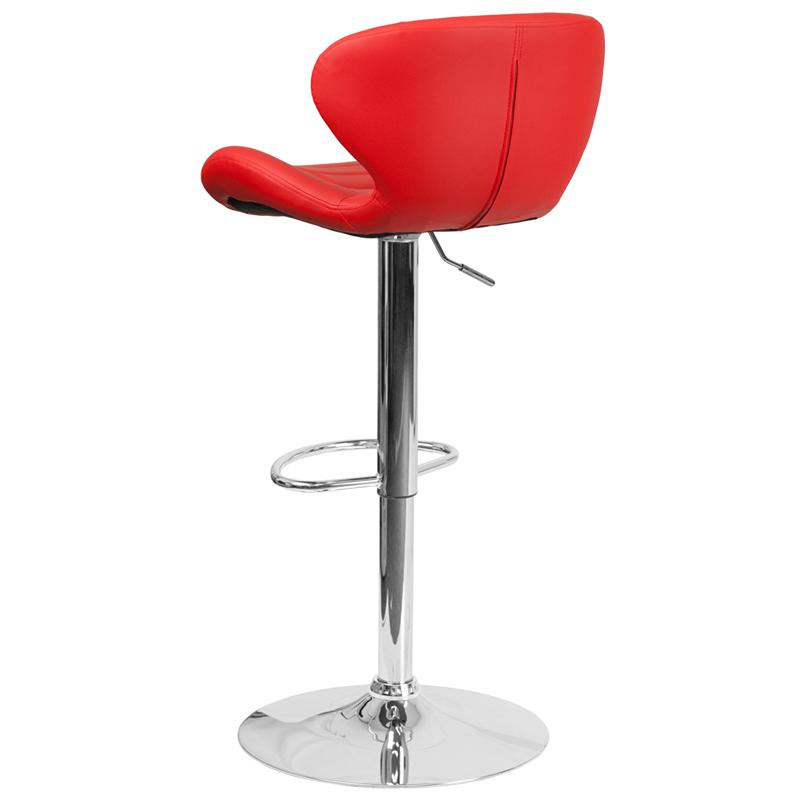 Contemporary Red Vinyl Adjustable Height Barstool with Curved Back and Chrome Base. Picture 3