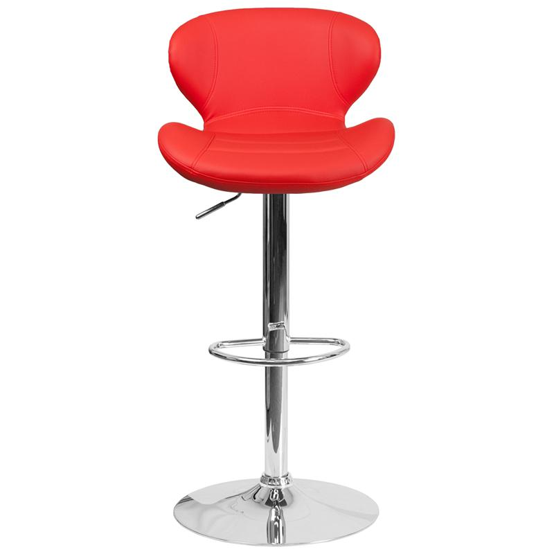 Contemporary Red Vinyl Adjustable Height Barstool with Curved Back and Chrome Base. Picture 4