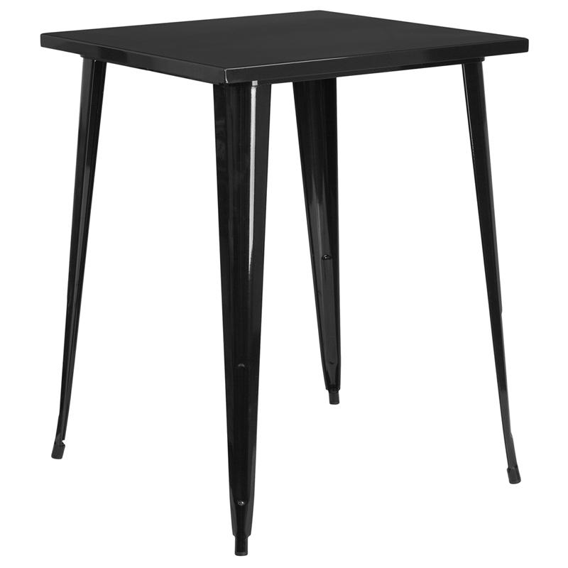 "Commercial Grade 31.5"" Square Black Metal Indoor-Outdoor Bar Height Table. Picture 1"