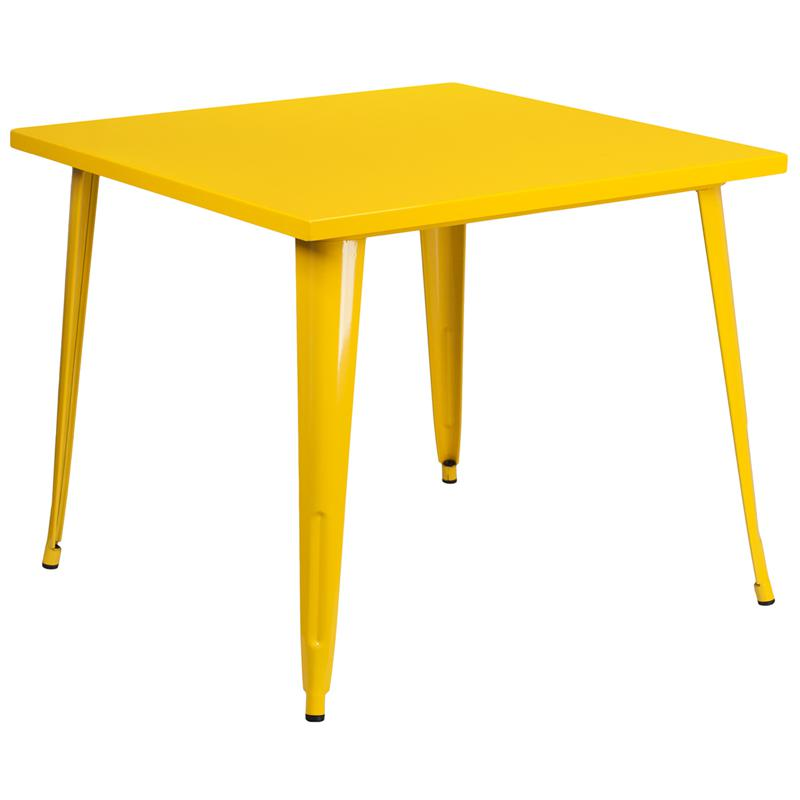 """Commercial Grade 35.5"""" Square Yellow Metal Indoor-Outdoor Table. Picture 1"""