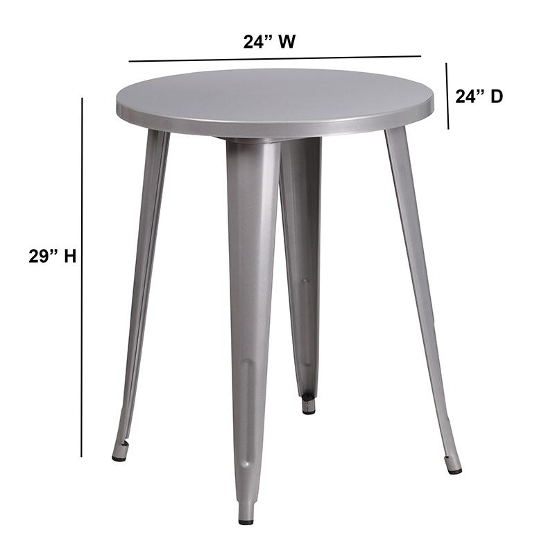 """Commercial Grade 24"""" Round Silver Metal Indoor-Outdoor Table. Picture 2"""