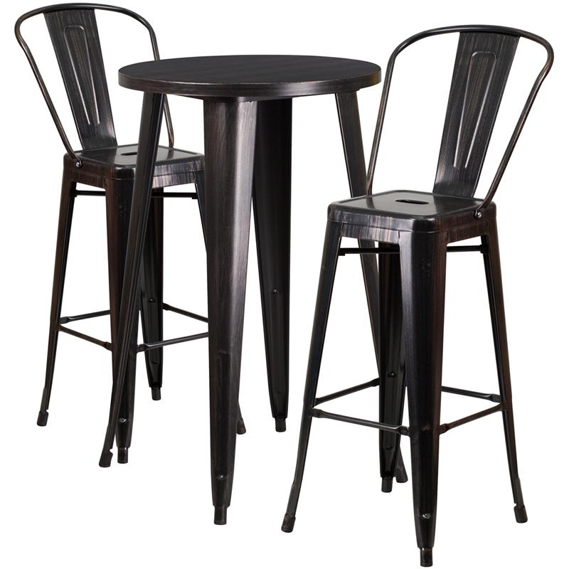 24'' Round Black-Antique Gold Metal In-Outdoor Bar Table Set with 2 Cafe Stools. Picture 1