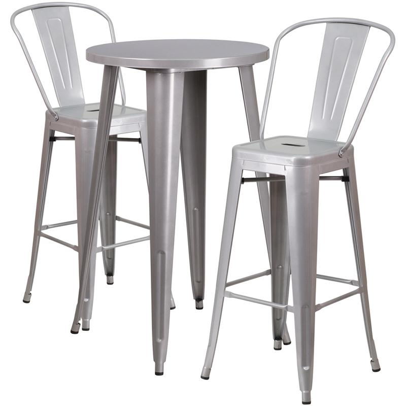 24'' Round Silver Metal Indoor-Outdoor Bar Table Set with 2 Cafe Stools. Picture 1