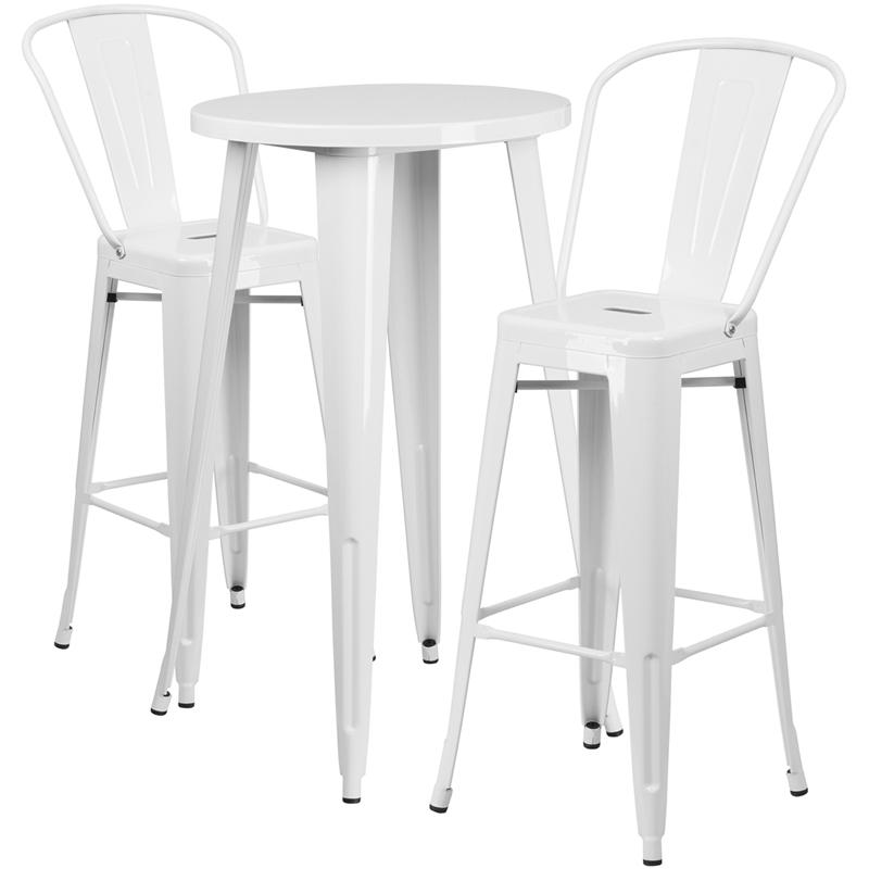 24'' Round White Metal Indoor-Outdoor Bar Table Set with 2 Cafe Stools. Picture 1
