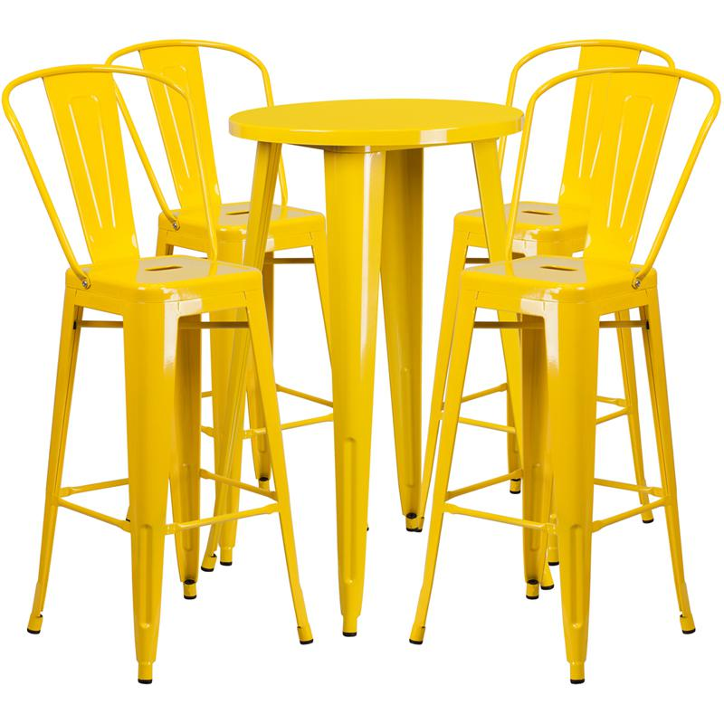 24'' Round Yellow Metal Indoor-Outdoor Bar Table Set with 4 Cafe Stools. Picture 1