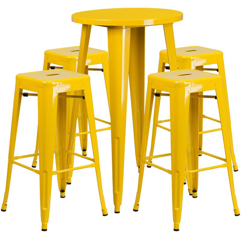 24'' Round Yellow Metal In-Outdoor Bar Table Set-4 Square Seat Backless Stools. Picture 1