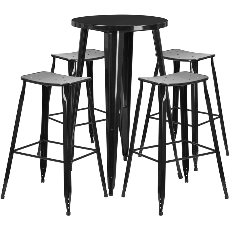 24 Round Black Metal Indoor Outdoor Bar Table Set With 4