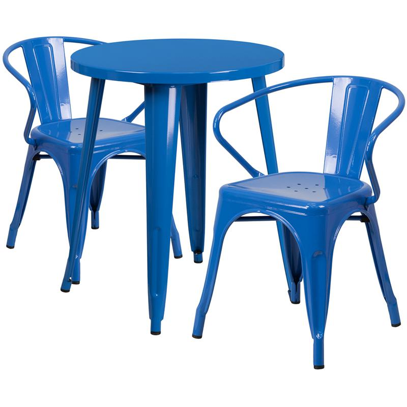 Awesome 24 Round Blue Metal Indoor Outdoor Table Set With 2 Arm Chairs Home Remodeling Inspirations Basidirectenergyitoicom