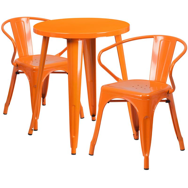 24'' Round Orange Metal Indoor-Outdoor Table Set with 2 Arm Chairs. Picture 1