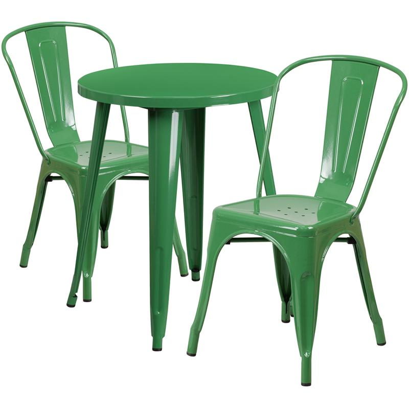 "Commercial Grade 24"" Round Green Metal Indoor-Outdoor Table Set with 2 Cafe Chairs. Picture 1"
