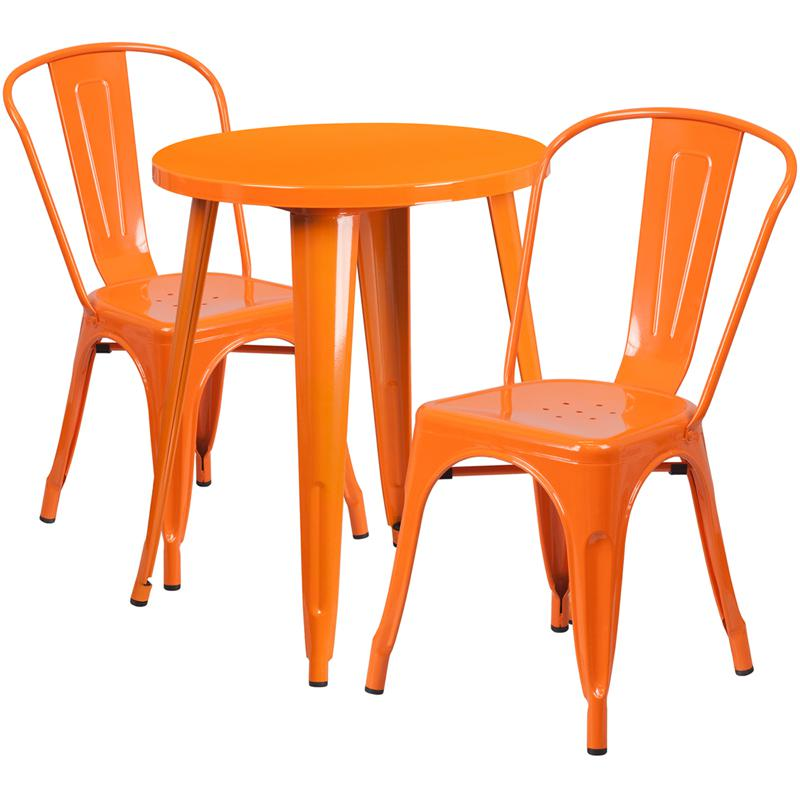 """Commercial Grade 24"""" Round Orange Metal Indoor-Outdoor Table Set with 2 Cafe Chairs. Picture 1"""