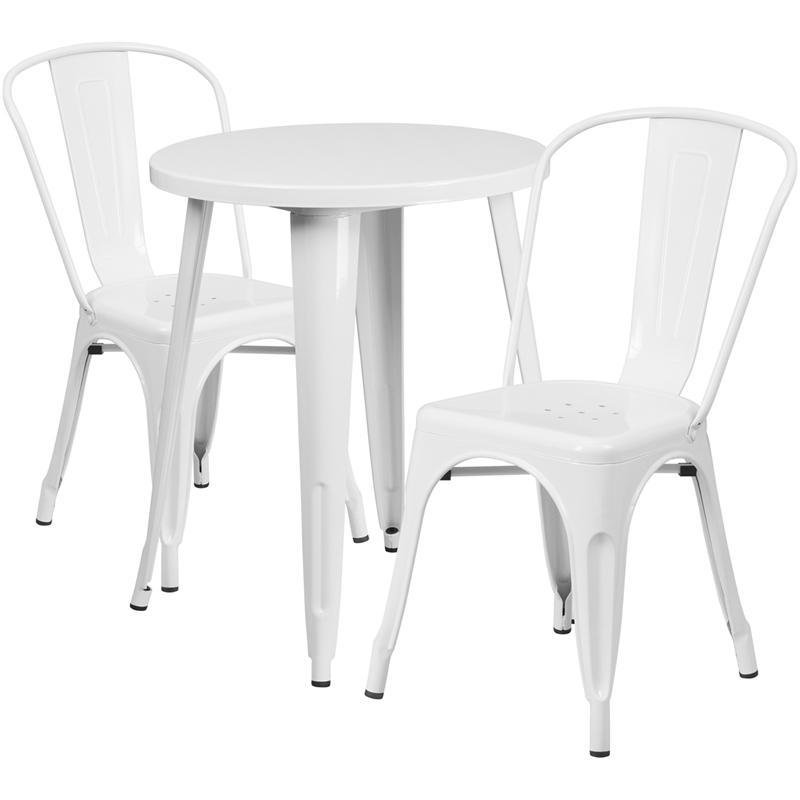 24 Round White Metal Indoor Outdoor Table Set With 2
