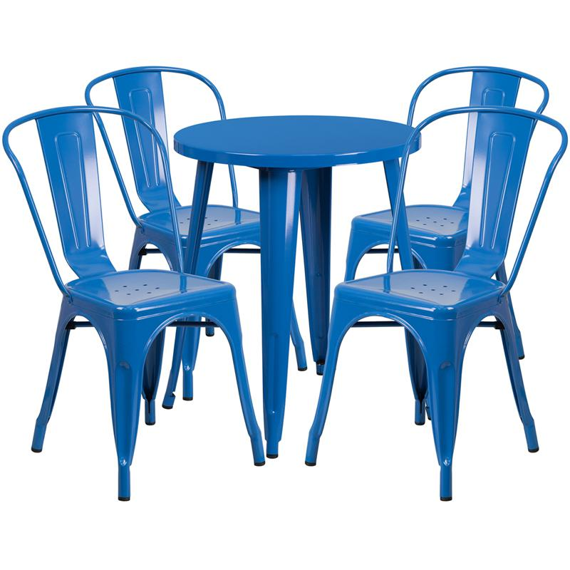 24'' Round Blue Metal Indoor-Outdoor Table Set with 4 Cafe Chairs. The main picture.