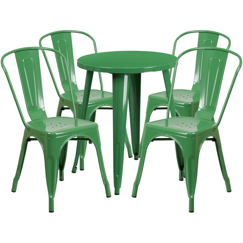24'' Round Green Metal Indoor-Outdoor Table Set with 4 Cafe Chairs. Picture 1