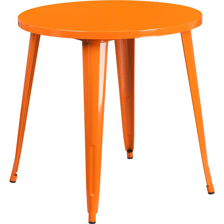 "Commercial Grade 30"" Round Orange Metal Indoor-Outdoor Table. Picture 1"
