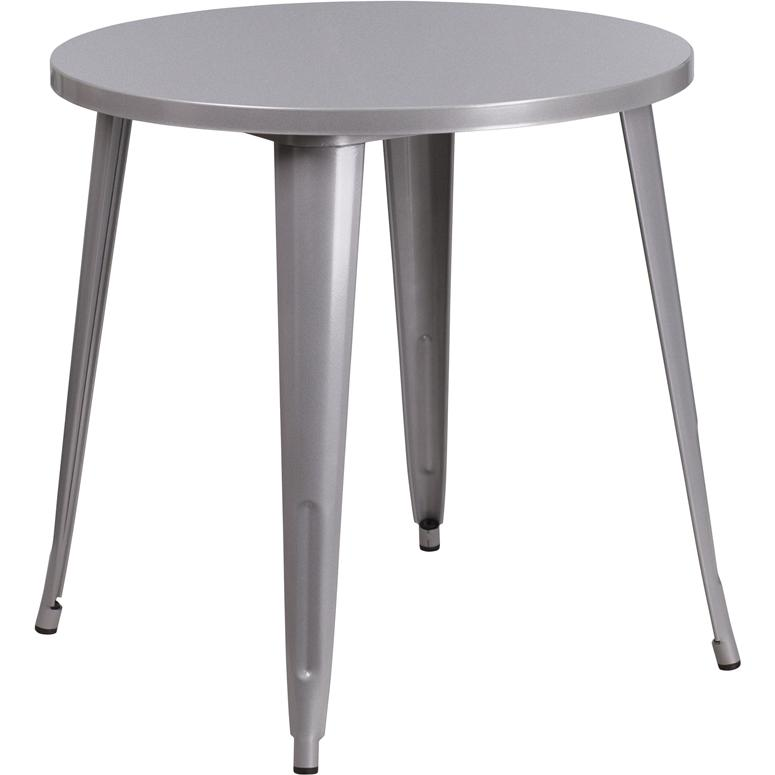 """Commercial Grade 30"""" Round Silver Metal Indoor-Outdoor Table. Picture 1"""