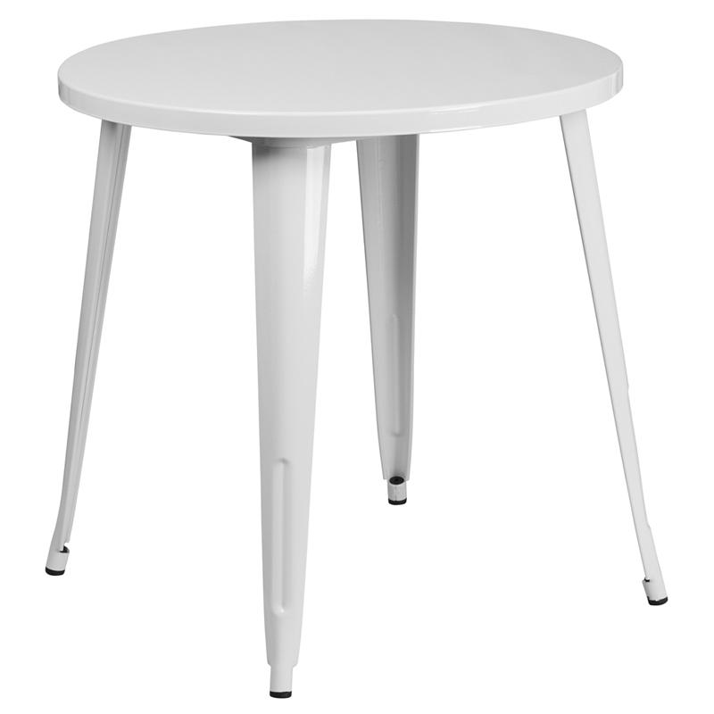 """Commercial Grade 30"""" Round White Metal Indoor-Outdoor Table. Picture 1"""