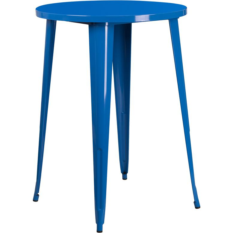 30'' Round Blue Metal Indoor-Outdoor Bar Height Table. Picture 1