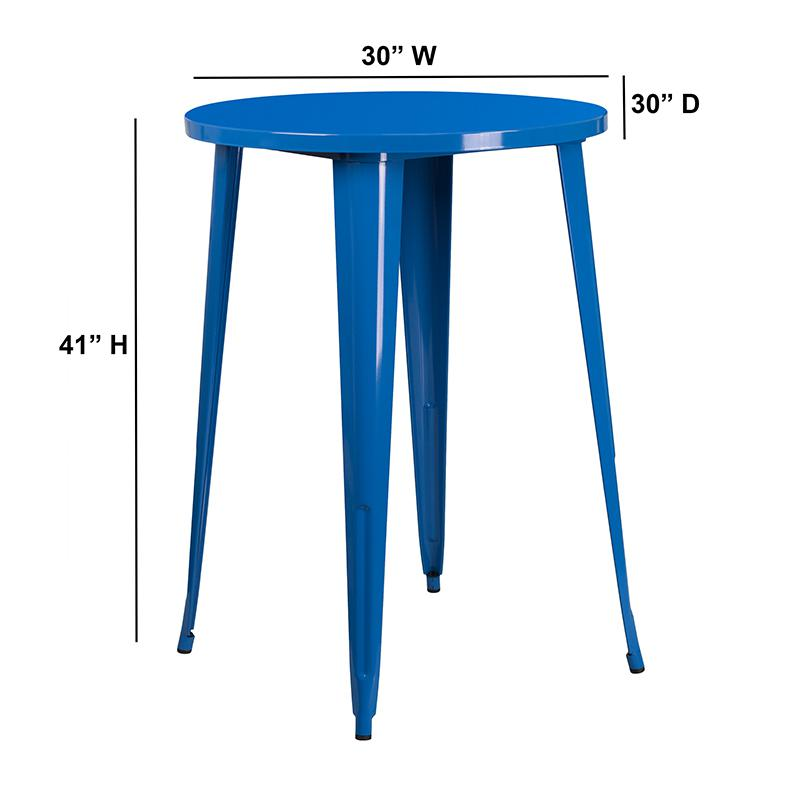 30'' Round Blue Metal Indoor-Outdoor Bar Height Table. Picture 2