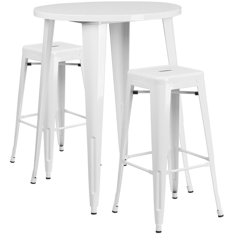 30'' Round White Metal In-Outdoor Bar Table Set - 2 Square Seat Backless Stools. Picture 1