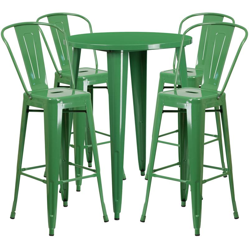 30'' Round Green Metal Indoor-Outdoor Bar Table Set with 4 Cafe Stools. Picture 1