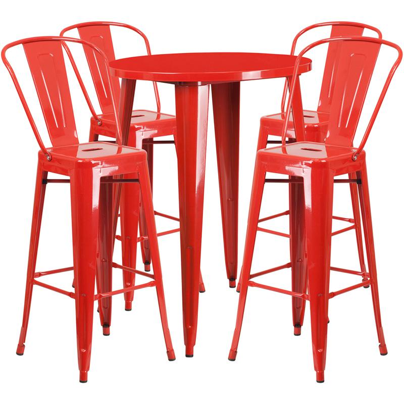 30'' Round Red Metal Indoor-Outdoor Bar Table Set with 4 Cafe Stools. Picture 1