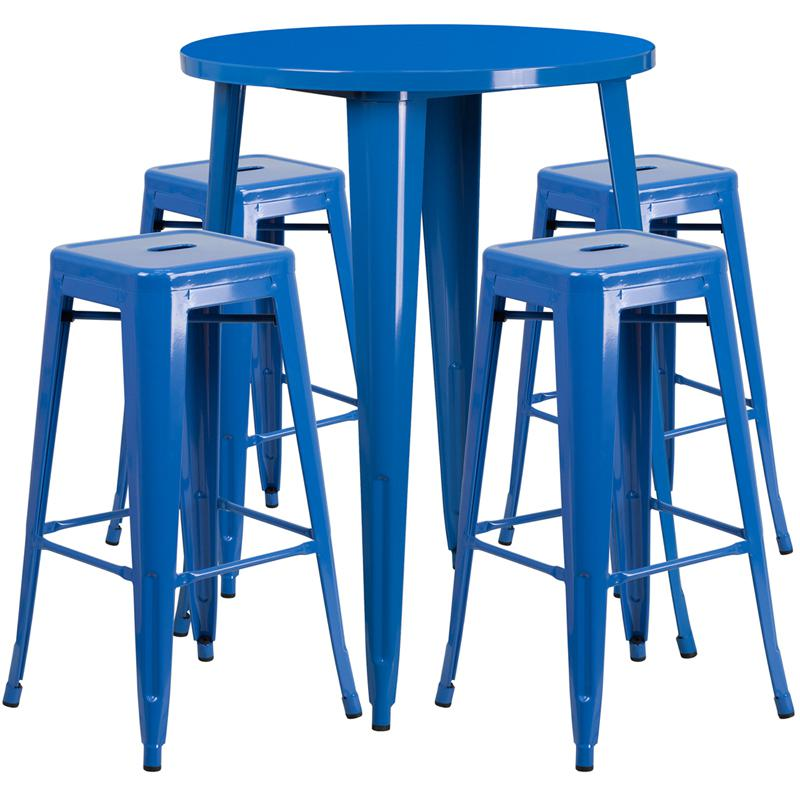 30'' Round Blue Metal In-Outdoor Bar Table Set - 4 Square Seat Backless Stools. Picture 1