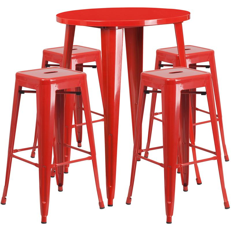 30 Round Red Metal Indoor Outdoor Bar Table Set With 4