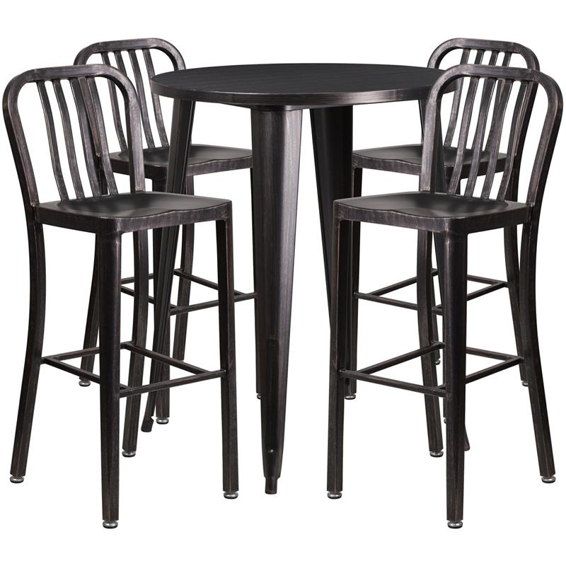 30 round black antique gold metal indoor outdoor bar table set with