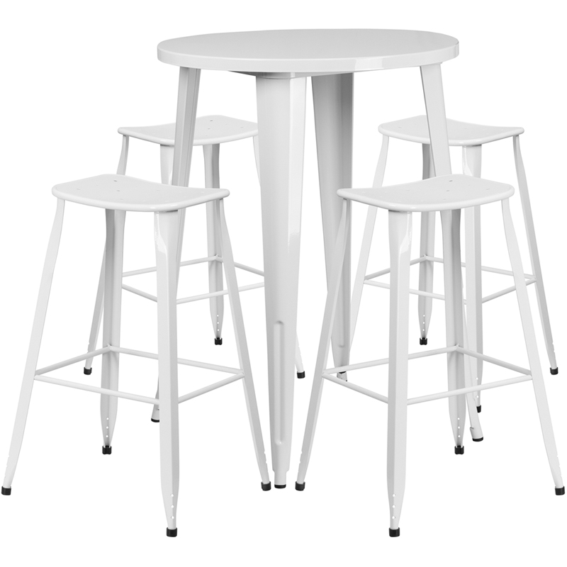 White Bar Table And Stools: 30'' Round White Metal Indoor-Outdoor Bar Table Set With 4