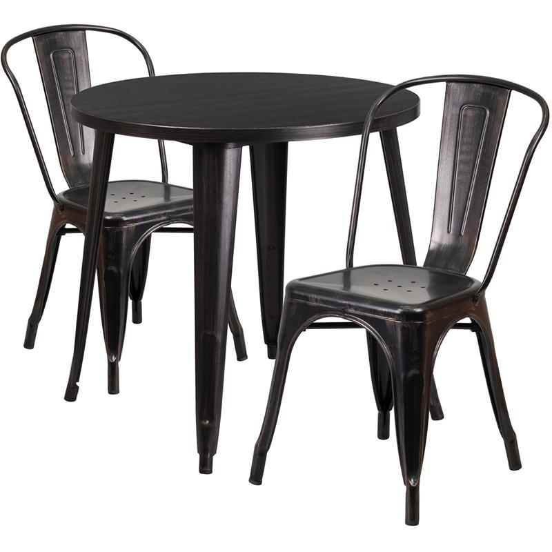 30 39 39 round black antique gold metal indoor outdoor table set with 2 cafe chairs. Black Bedroom Furniture Sets. Home Design Ideas