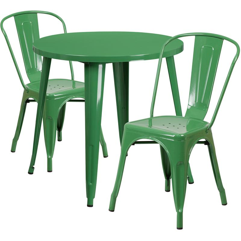 30'' Round Green Metal Indoor-Outdoor Table Set with 2 Cafe Chairs. Picture 1