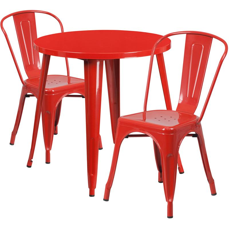 30'' Round Red Metal Indoor-Outdoor Table Set with 2 Cafe Chairs. The main picture.
