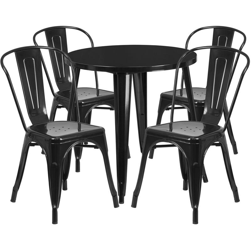 30'' Round Black Metal Indoor-Outdoor Table Set with 4 Cafe Chairs. Picture 1