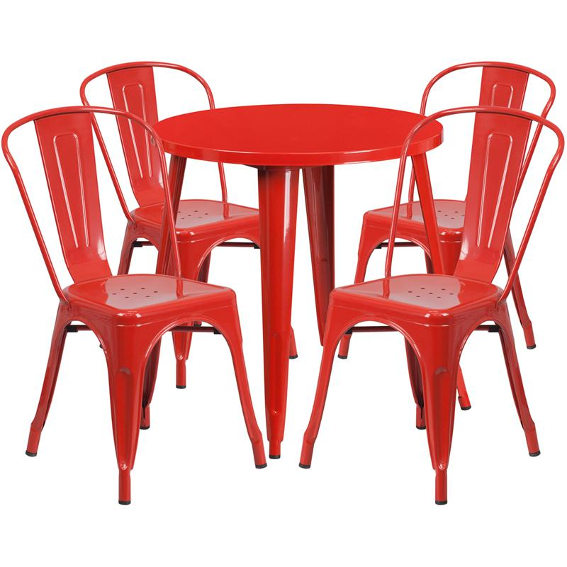 30'' Round Red Metal Indoor-Outdoor Table Set with 4 Cafe Chairs. The main picture.