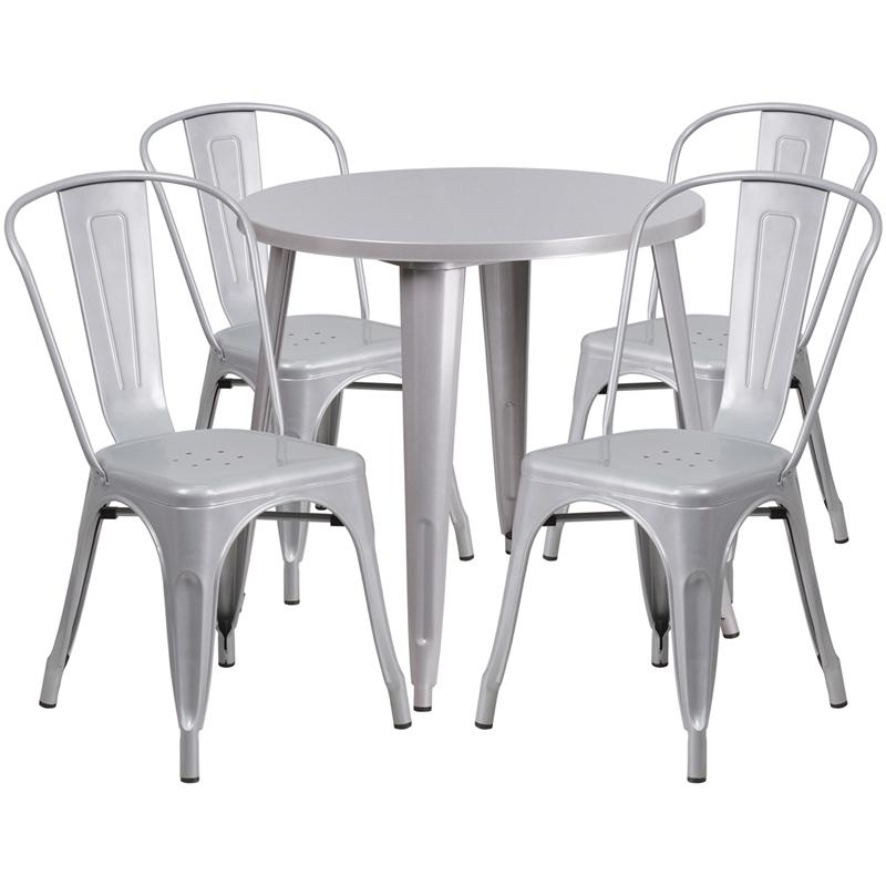 24 round red metal indoor outdoor table set with 4 cafe chairs 229