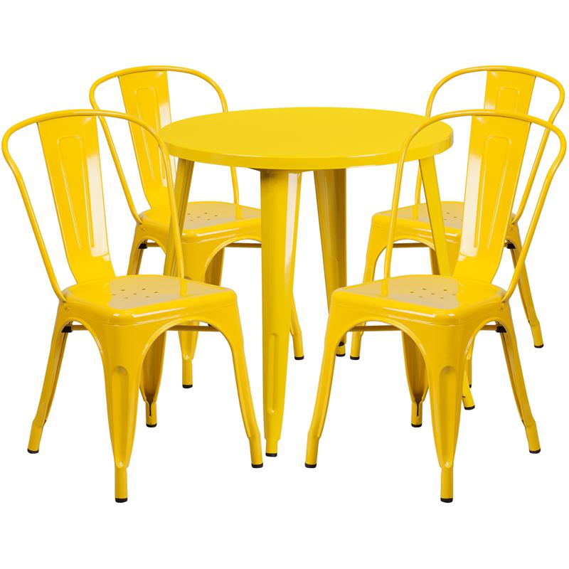 30'' Round Yellow Metal Indoor-Outdoor Table Set with 4 Cafe Chairs. Picture 1
