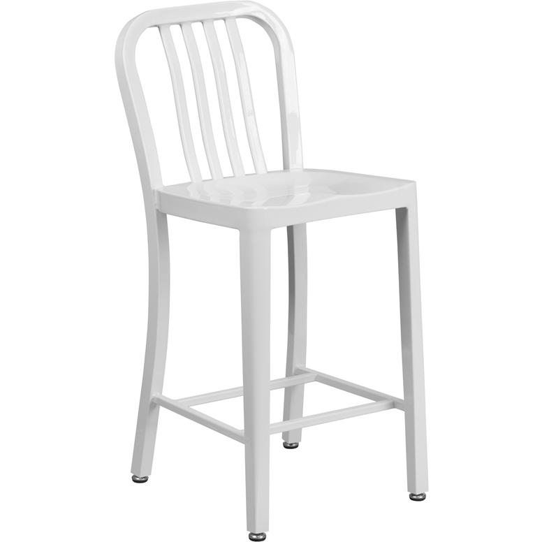 24 High White Metal Indoor Outdoor Counter Height Stool
