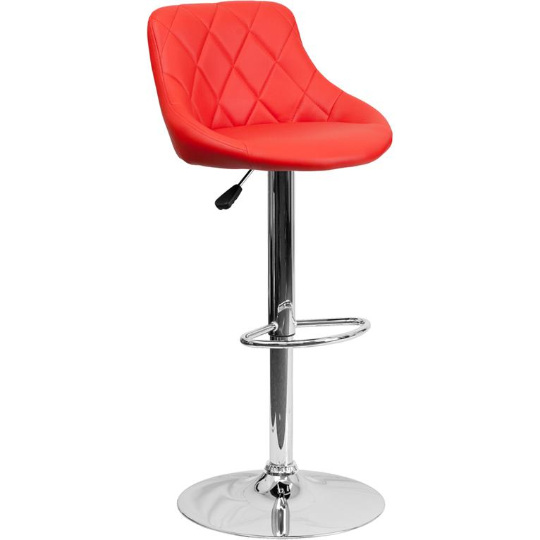 Contemporary Red Vinyl Bucket Seat Adjustable Height Barstool with Diamond Pattern Back and Chrome Base. Picture 1