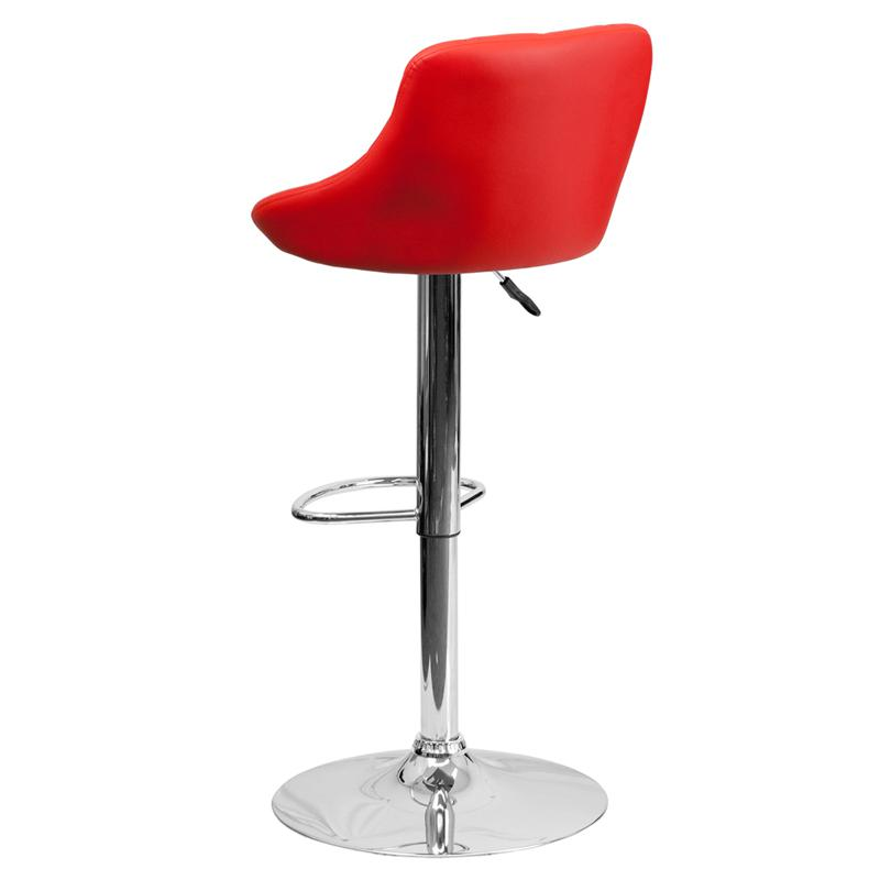 Contemporary Red Vinyl Bucket Seat Adjustable Height Barstool with Diamond Pattern Back and Chrome Base. Picture 3