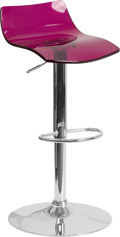 Contemporary Transparent Purple Acrylic Adjustable Height