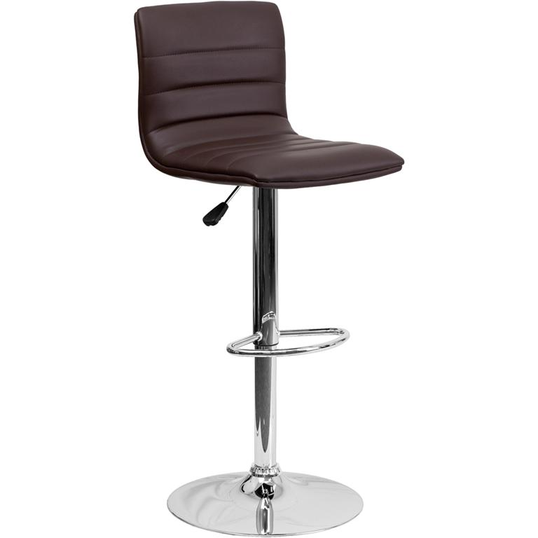 Modern Brown Vinyl Adjustable Bar Stool with Back, Counter Height Swivel Stool with Chrome Pedestal Base. Picture 1