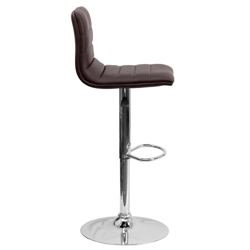 Modern Brown Vinyl Adjustable Bar Stool with Back, Counter Height Swivel Stool with Chrome Pedestal Base. Picture 2
