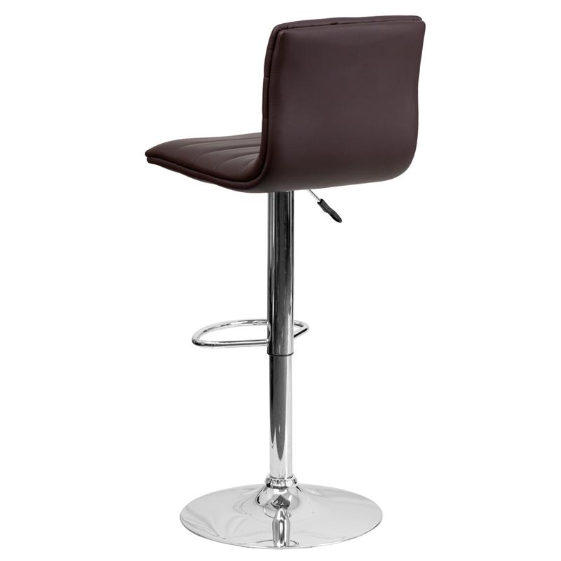 Modern Brown Vinyl Adjustable Bar Stool with Back, Counter Height Swivel Stool with Chrome Pedestal Base. Picture 3