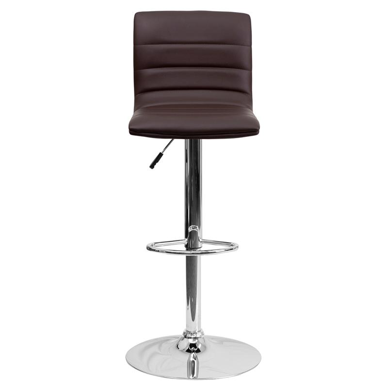Modern Brown Vinyl Adjustable Bar Stool with Back, Counter Height Swivel Stool with Chrome Pedestal Base. Picture 4