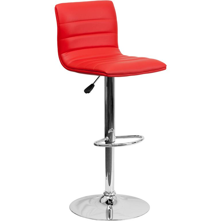 Modern Red Vinyl Adjustable Bar Stool with Back, Counter Height Swivel Stool with Chrome Pedestal Base. Picture 1