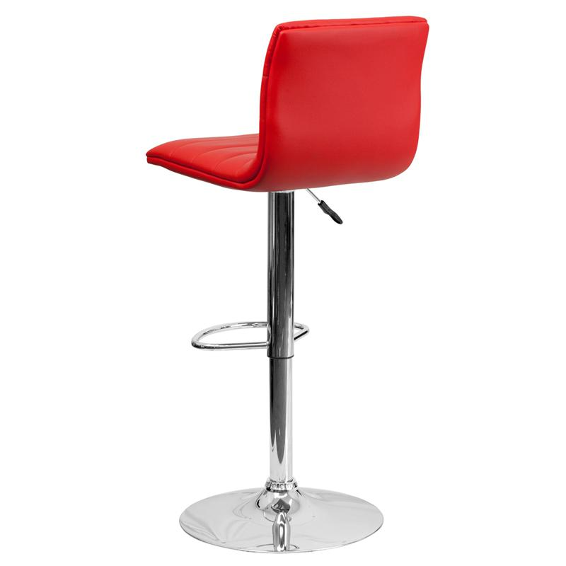 Modern Red Vinyl Adjustable Bar Stool with Back, Counter Height Swivel Stool with Chrome Pedestal Base. Picture 3