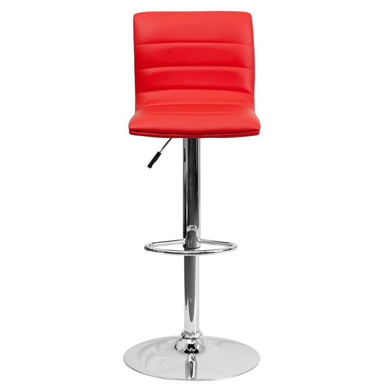 Modern Red Vinyl Adjustable Bar Stool with Back, Counter Height Swivel Stool with Chrome Pedestal Base. Picture 4